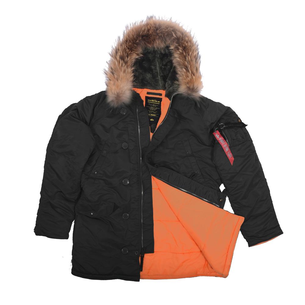 36ceecc6 Куртка Аляска Slim Fit N-3B Black-Orange(натуральный мех)