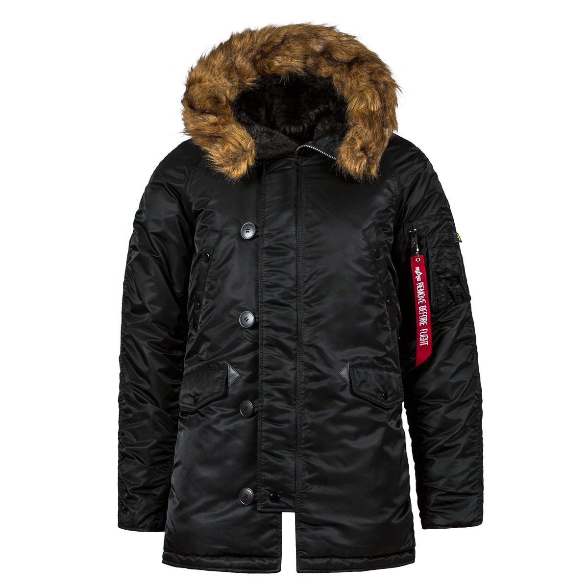 f95fda24 Куртка Аляска N-3B Slim Fit Черная (оранжевая подкладка)