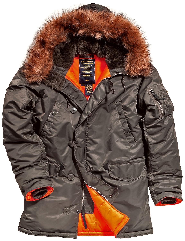 6261a19b Куртка Аляска Slim Fit N-3B Parka (replica grey/ orange)