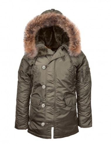 Куртка Аляска Slim Fit N-3B Parka (replica grey/ orange) с натуральным мехом