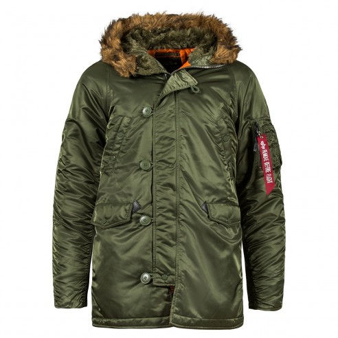 Куртка Аляска Slim Fit N-3B Parka (green orange)