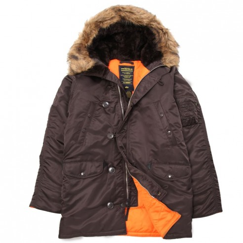 Куртка Аляска N-3B Slim Fit Gen I Parka  (deep brown/orahge)