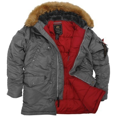 Куртка Аляска Slim Fit N-3B Parka (Gun Metal/Red)