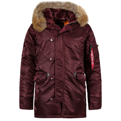 Куртка Аляска Slim Fit N-3B Parka (Мaroon/ orange) c натуральным мехом