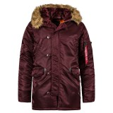 Куртка Аляска Slim Fit N-3B Parka  (Мaroon/ orange)