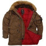 Куртка Аляска Slim Fit N-3B Parka (Brown/Red)