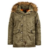 Куртка Аляска Slim Fit N-3B Parka (Vintage Olive/orange )